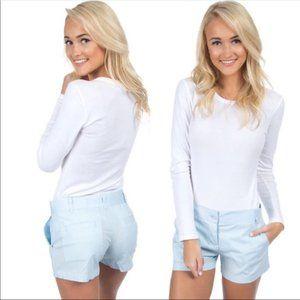Lauren James Mint Blue Poplin Seersucker Shorts M